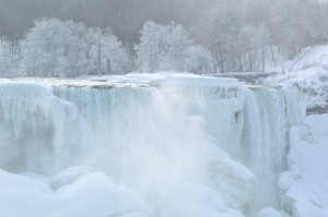 The sight of the Falls on a winter getaway to Niagara Falls.