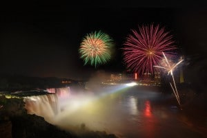 Fireworks to experience on a winter getaway to Niagara Falls.